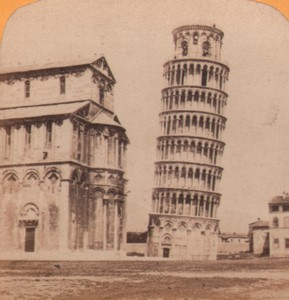 Italy Leaning tower of Pisa Old Stereo Photo Gaudin 1870