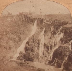 Italy Tivoli Waterfalls Old Stereo Photo 1860