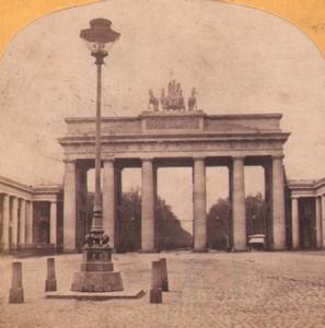 Germany Berlin Brandenburg gate Old Stereoview Photo Moser 1870