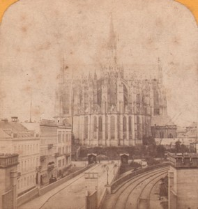 Germany Koln Cathedral & Railway Old Stereoview Photo Jouvin 1870