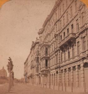Autriche Vienne Boulevard Nouvelles Maisons ancienne Photo Stereo Gaudin 1870
