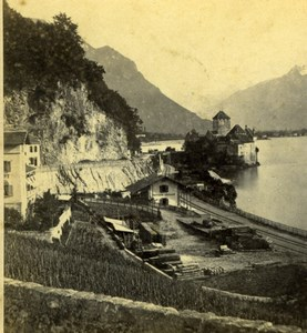 Switzerland Chillon Castle Leman Lake old Charnaux Stereo Photo 1870