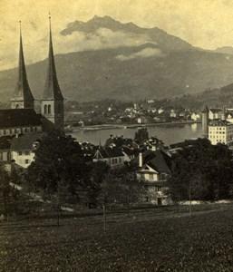 Switzerland Lucerne Mount Pilatus Mountain Old Adolphe Braun Photo 1870