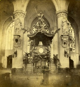Belgium Brussels St Gudula Cathedral Baroque Pulpit Old Photo Stereoview 1870