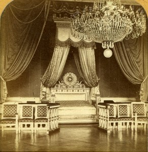 France Versailles Trianon Palace Bedroom Old GAF Tissue Stereoview Photo 1860