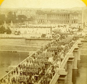 France Paris Place de la Concorde Busy Old Jouvin Tissue Stereoview Photo 1870