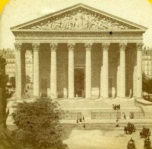 France Paris La Madeleine Church Old Jouvin Tissue Stereoview Photo 1870