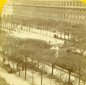 France Paris Palais-Royal Garden Old Jouvin Tissue Stereoview Photo 1870
