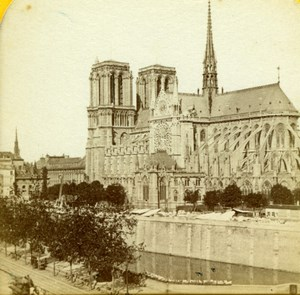 France Paris Notre-Dame Cathedral Old Jouvin Tissue Stereoview Photo 1870