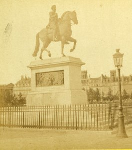 France Paris Henri IV Equestrian Statue Old Debitte Hervé Stereoview Photo 1870