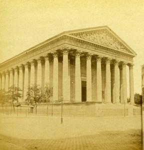 France Paris La Madeleine Church Old Debitte et Hervé Stereoview Photo 1870