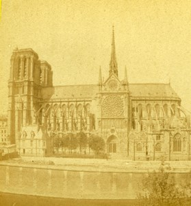 France Paris Notre-Dame Cathedral Old Debitte & Hervé Stereoview Photo 1870