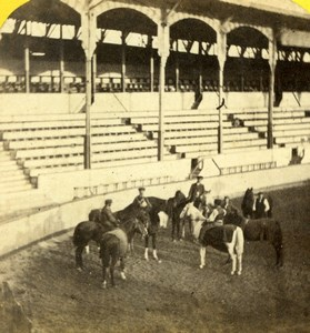 France Corrida Horses Arena Old Radiguet Stereoview Photo 1860'