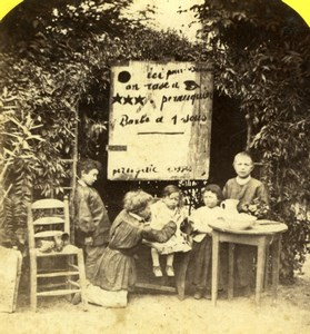 France Children playing Barber Shop Scene de Genre Radiguet Stereo Photo 1860