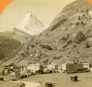 Switzerland Zermatt Valley Mont Cervin old Jullien Stereoview Photo 1885
