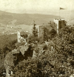 Germany Baden Baden Alt-Eberstein Castle Old Gustav Salzer Stereoview Photo 1899