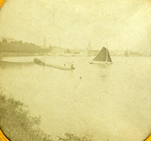 France ? Sailboats on Lake Old Tissue Stereoview Photo 1870