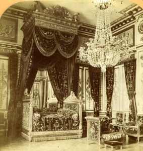 France Fontainebleau Castle Emperor's Bedroom old Stereoview Tissue Photo 1870