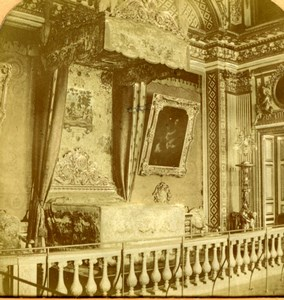 France Versailles Louis XIV Bedroom old Stereoview Tissue Photo 1870