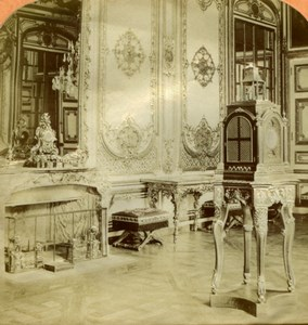 France Versailles Salon des Pendules old Stereoview Tissue Photo 1870