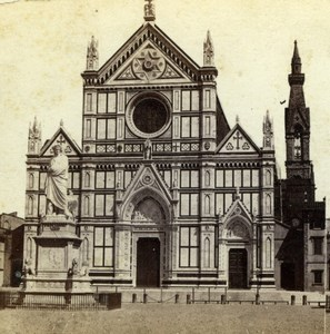 Italy Florence Firenze Santa Croce Cathedral Old Sommer Stereoview Photo 1860