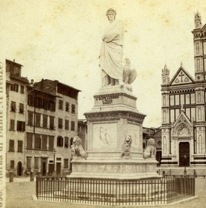 Italy Florence Firenze Dante Statue Old Giorgio Sommer Stereoview Photo 1860