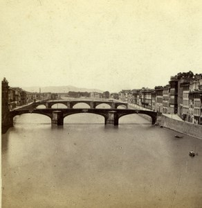 Italy Florence Firenze Panorama from Ponte Vecchio Sommer Stereoview Photo 1860