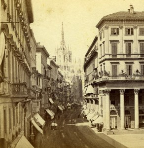 Italy Milan Milano Street Shops Old Giorgio Sommer Stereoview Photo 1860