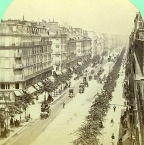 France Paris Boulevard Sebastopol Old Stereoview Photo 1860
