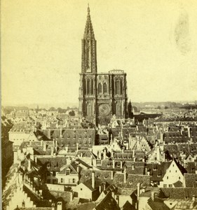 France Strasbourg Cathedral Panorama Old Stereoview Photo 1867