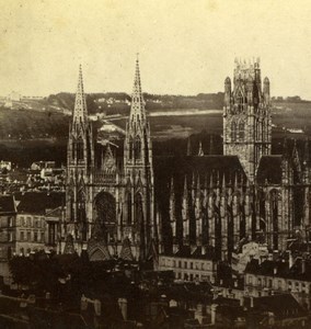 France Rouen Saint-Ouen Abbey Church Old Stereoview Photo 1860