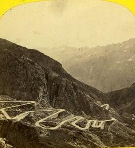 Switzerland Mountain Road Old Adolphe Braun Stereoview Photo 1860
