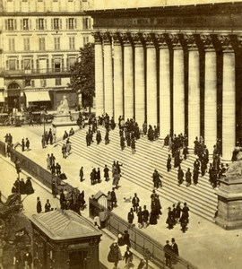 France Paris Place de la Bourse Stock Exchange Crowd Old Stereoview Photo 1860