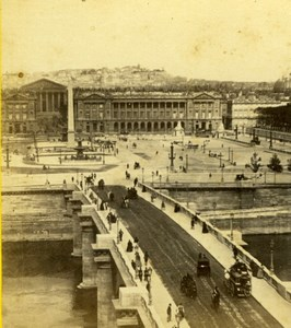 France Paris La Concorde Place & Bridge Montmartre Old Stereoview Photo 1860
