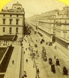 France Pais Rue de Rivoli & Louvre Snapshot Old Jouvin Stereoview Photo 1860