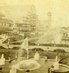 London Crystal Palace & Grounds Fountains Old Stereoview Photo 1860