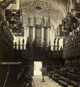 Windsor Castle St George's Chapel Interior Old GW Wilson Stereoview Photo 1860's