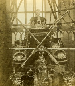 Tower of London Crown Jewels of the United Kingdom Old Stereoview Photo 1860