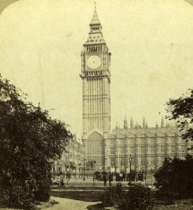 London Houses of Parliament Clock Tower Big Ben Elliott Stereoview Photo 1860