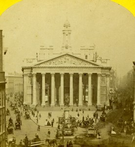 London Busy Royal Exchange Old Valentine Blanchard Stereoview Photo 1860
