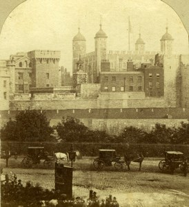 Tower of London Horse Carriages Old Chappuis Stereoview Photo 1860