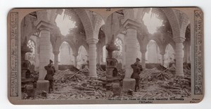 WWI Richebourg Cathedral Old Realistic Travels Stereoview Photo 1914-1918