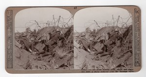 WWI Somme Battle Sausage Valley Old Realistic Travels Stereoview Photo 1916