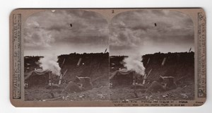 WWI Firing Shell Mortar Trench Old Realistic Travels Stereoview Photo 1914-1918
