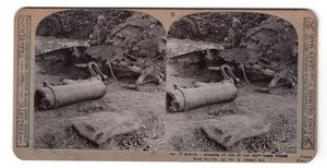 WWI Howitzer Obusier detruit Ancienne Photo Stereo Realistic Travels 1914-1918