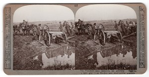 WWI Artillerie Embourbee Canon Ancienne Photo Stereo Realistic Travels 1914-1918