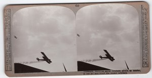 WWI Aerial Combat Old Realistic Travels Stereoview Photo 1914-1918