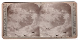WWI Aviation Fighting Squadron Old Realistic Travels Stereoview Photo 1914-1918