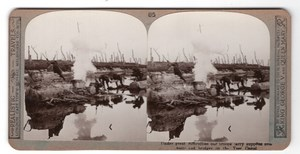 WWI Yser Canal Ieperlee Supply Old Realistic Travels Stereoview Photo 1914-1918