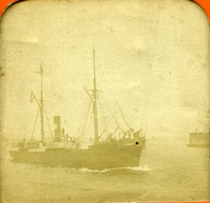 France Steamship Sailboat Bateaux à vapeur Voilier Photo Stereoview Tissue 1870